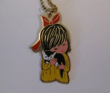 Vintage 70's Fran Mar Moppets Jewelry Gold Necklace Kitschy Girl Bow Kitten 1970