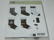 Stampin Up Stitched Stockings CLEAR Mount Stamp Set of 7 Christmas Holiday