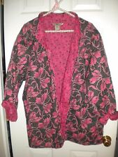 J. Bee Woman pink & black quilted cottony jacket reversible! EUC 3X