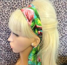 FLAMINGO TROPICAL PRINT RETRO COTTON HEAD HAIR BAND SELF TIE BOW 50s ROCKABILLY