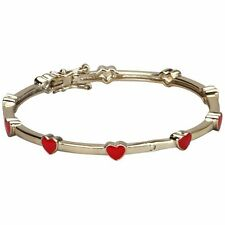 Yellow Gold-Tone Red Enamel Hearts Baby Girls Bangle Cuff Bracelet 40 mm