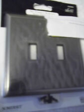"SOMERSET DOUBLE TOOGLE SWITCH COVER  5"" X 5"" NICKEL FINISH INVISIBLE SCREWS NWT"