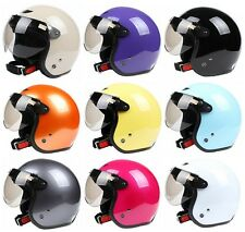 ECE DOT Open Face 3/4 Vespa Helmet Motorcycle Scooter 9 color Size M L