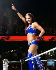 """WWE PHOTO BRIE BELLA TWINS INRING 8x10"""" OFFICIAL WRESTLING PROMO IN BLUE"""