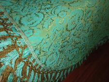 J. C. PENNEY FASHION MANOR FRINGED TWIN DAMASK BEDSPREAD GREEN BROWN GOLD 72X84