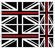 4 X THIN RED LINE - FIRE SERVICE UNION JACK VINYL CAR IPAD LAPTOP STICKER
