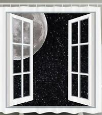 WHITE WINDOW FULL MOON SPACE STARS NIGHT ART PICTURE Shower Curtain