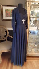 A1074 JORDAN FASHIONS CATERINA 6012 NAVY SZ 6   $370  FORMAL PARTY DRESS GOWN