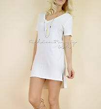 Ivory SOLID T-SHIRT DRESS V-Neck Stretch Casual Long Tunic Top Cover Up Dress L