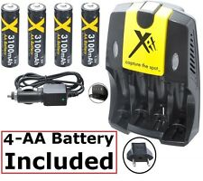 3100mAh 4AA BATTERY + 110-240 & CAR CHARGER FOR SONY DSC-H5