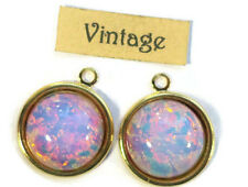 #1485X Vintage Charms Pink Fire Opal Harlequin Dangles Drops Glass Drops NOS