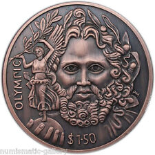BRITISH VIRGIN ISL $1.5 2013 Copper Antique Matte ZEUS/VICTORY Ultra High Relief