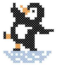 Children's first stitches cross stitch -Skating Penguin
