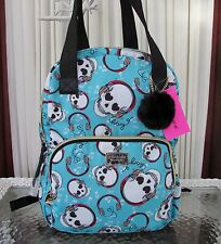 Betsey Johnson Music Head Skulls Tote Backpack Bag Weekender Aqua NWT $108