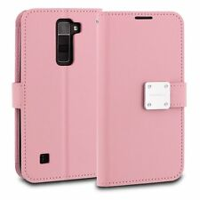 For LG Treasure Tracfone - PINK Leather Case Magnetic Card ID Wallet Pouch Cover