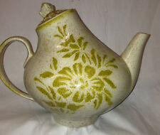 RED WING POTTERY DAMASK TEAPOT GOLD BROWN FLORAL SMALL CHIP ON BOTTOM OF SPOUT