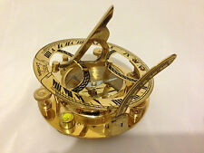 Brass Sundial Compass Nautical Marine Magnetic compass with Leather case 4 inch