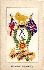 WW1 Patriotic Silk. Serving King & Country. Best Wishes from Shoreham.