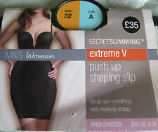 BNWT M & SECRET SLIMMING BRA SLIP 32 A EXTREME V PLUNGE PUSH UP MULTIWAY SHAPING