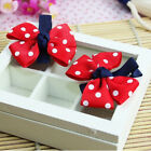 Elegance Girl Dot Hair Clips Baby Kids Hair Pin Ribbon Bow Accessories Style WF