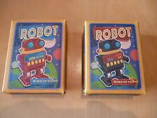 2 x WIND UP RETRO TOY MARCHING SPACE ROBOTS ~ WIND UP CLASSIC TOY