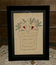 Handstitched Gingerbread Men in a Basket  Primitive 5x7 Framed Stitchery