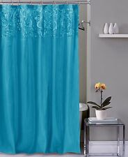 Bright Aqua Blue 3D Flower Faux Silk Fabric Shower Curtain by CHD