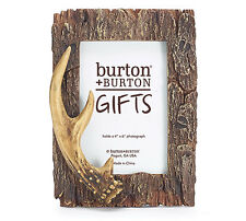 Deer Antler & Tree Bark 4x6 Picture Photo Frame Hand-Painted Resin