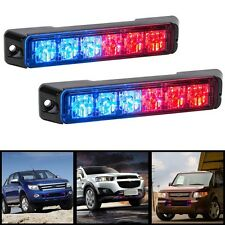 2pcs Bright 6 LED Blue Red Strobe Flash Light Bar Beacon