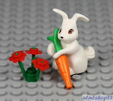 LEGO - Easter Bunny Rabbit w/ Carrot & Flowers - Minifigure Animal Pet Large