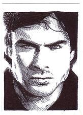 ACEO Sketch Card Ian Somerhalder as Damon Salvatore from Vampire Diaries Series