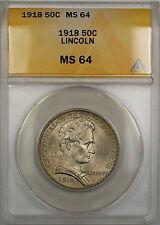 1918 Lincoln Commemorative Silver Half Dollar 50c Coin ANACS MS-64 PRX