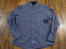 ENGLISH LAUNDRY Mens Medium (M) L/S Blue Checked Pocket Buttonfront Shirt