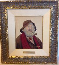 Canadian Anne Marie Matte Desrosiers Needle Point Painting Fisherman