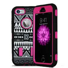 For iPhone 6S Heavy Duty Silicone Tribal Design Hybrid Box Cover Case Hot Pink