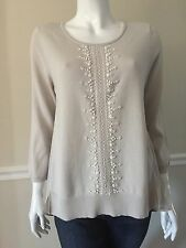 NWT NIC + ZOE WOMEN SzS BEADED 3/4 SLEEVE TOP SWEATER IN POWDER $188.