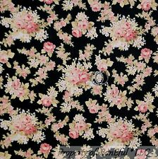 BonEful Fabric Cotton Quilt Black Pink Flower Rose Shabby Chic Green Leaf SCRAP