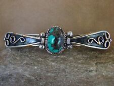 Native American Indian Jewelry Nickel Silver Turquoise Hair Barrette