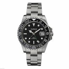 Sapphire Glass Parnis 40mm GMT Date Ceramic Bezel Automatic Men's Watch