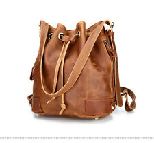 New Women Genuine Leather Drawstring Bucket Shoulder Bag Retro Backpack Satchel