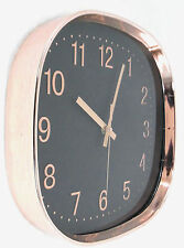 Retro COPPER Wall Clock, Black face,Copper Rose Gold/Copper Coloured numbers,New