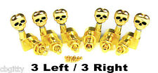 Gold Skull Electric Guitar Tuners/Machine Heads: 6pcs. 3 Left/3 Right   31-03-02