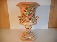 JAFFE ROSE ITALIAN POTTERY PINK FLORAL HANDPAINTED URN VASE ITALY 4512