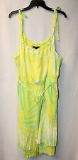 NEW LANE BRYANT WOMENS PLUS SIZE 22W 24W BRITE YELLOW TIE-SHOULDER PLEATED DRESS