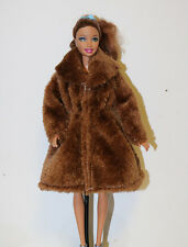 New Fashion Doll Clothes Doll Accessories Flannel brown coat for Barbie doll