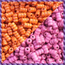 100 Perles Bois Tube 2 coloris Orange / Fuchsia