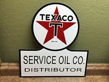 OLD STYLE TEXACO SERVICE OIL DISTRIBUTOR BLACK T DICUT THICK STEEL SIGN USA MADE