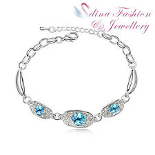 18K White Gold Plated Made With Swarovski Crystal Fashion Ocean Blue Bracelet