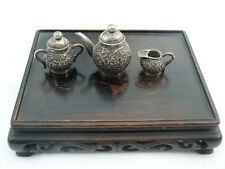 Vintage Japanese Silver Miniature tea set tea pot sugar and mik Japan
