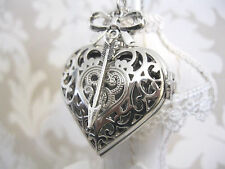 "New "" SHOT THROUGH THE HEART"" Silver Steampunk Heart Pocket Watch Necklace Gift"